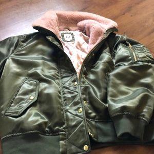 Women's GAP bomber jacket army green w/ pink fur